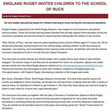 Home learning resources from the RFU