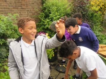Digging for treasure in the school garden